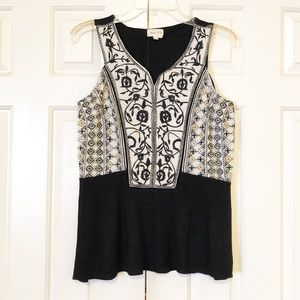 Anthropologie embroidered peplum tank top XS. GUC